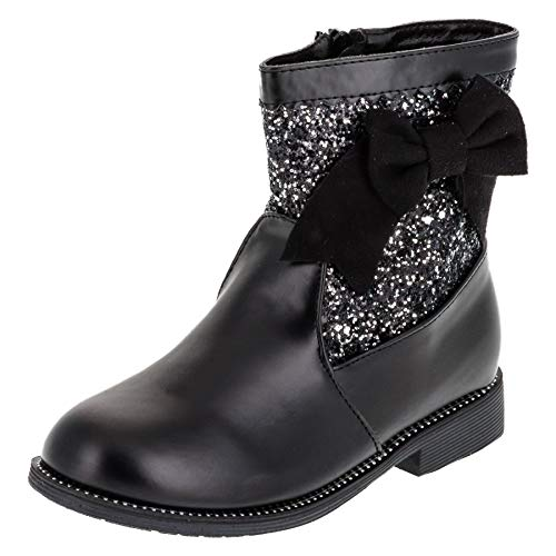 Cherine Trendy Girls Ankle Boots with Glitter Buckles and Zip