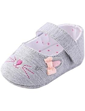 Vovotrade Niña pequeña Cuna Zapatos Flor recién nacida Suela blanda encantador Gato mascota Cara Primer paso Antideslizante...