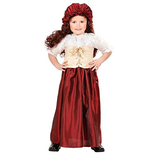 NET TOYS Kleine Magd Kostüm Bäuerin Kinderkostüm 110 cm Maid Mädchenkostüm Zofe Larp Kleid und Haube Burgfräulein Faschingskostüm Mittelalter Gewand Mädchen