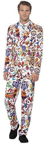 Fancy Me Herren 1970er Jahre 1960er Jahre Graffiti Art Anzug mit Krawatte Hippie Hippie Hippie Hippie Festival Karneval Kostüm Outfit (1960er Jahre Herren Kostüm)