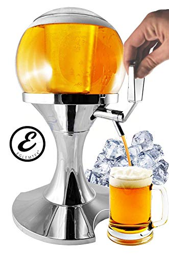 EGLEMTEK - Dispensador de Cerveza y Bebidas refrigeradas en Forma de Botella esférica con Compartimento para Hielo, Capacidad de 3,5 litros, dispensador de Cerveza y Otras Bebidas, 28 x 28 x 24 cm