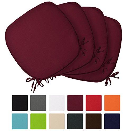 Beautissu 4er Set Stuhlkissen Lara 38x38x1,5cm Sitzkissen für Stühle für Indoor & Outdoor mit Oeko-Tex Siegel in diversen Farben