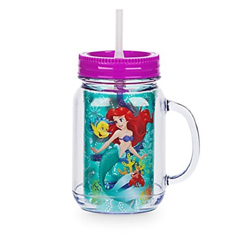 Disney Store Ariel Small Jelly Jar with Straw The Little Mermaid Tumbler Cup 2016 by Disney