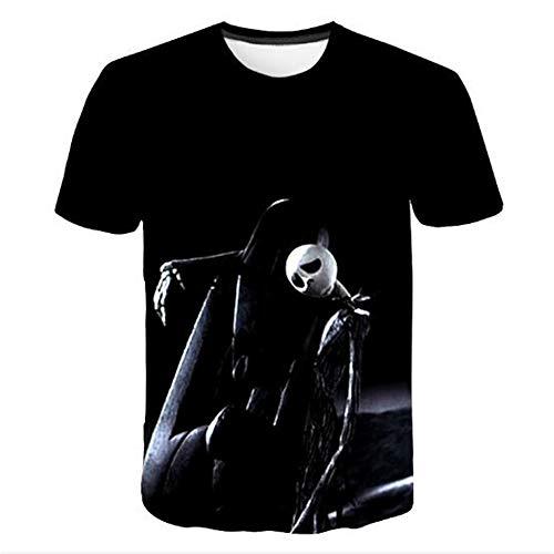 Sommert-shirtMännersommer-beiläufige Tarnungs-Druck-mit Kapuze ärmelloses T-Shirt Spitzenweste,Halloween Puppe C schwarz L -