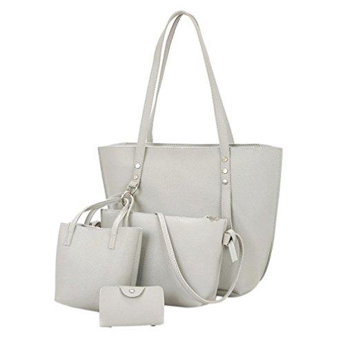 VJGOAL Damen Schultertasche, 4Pcs Frauen Mädchen Mode Muster Leder Schultertasche + Umhängetasche + Handtasche + Brieftasche Geschenke (38*13*29cm, Grau)