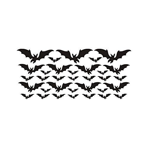 e Schwarz DIY PVC Abnehmbare Fledermaus Wandaufkleber Halloween Dekoration Wandkunst Aufkleber Party Dekoration Ein Wohnkultur 57x25 cm ()