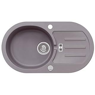 AXIS KITCHEN Graue Granitspüle Malibu 30 Spülbecken Spüle 77x43cm Material Axigran Küchenspüle Farbe Moonlight Grey Grau reversibel