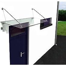 home-systeme - Marquesina de vidrio para puerta de vivienda (acero inoxidable, 150 x 90 cm)