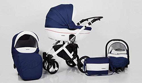 b64ef47ce Hogartrend Milano Poussette pour bébé en 3 pièces avec châssis en aluminium  Couleur 4