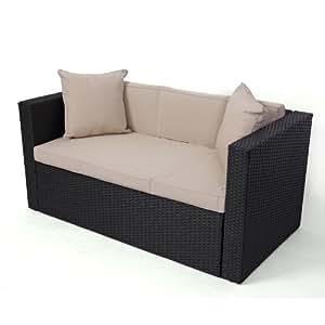 modulares poly rattan sofa rom anthrazit 2er sofa mit armlehnen k che haushalt. Black Bedroom Furniture Sets. Home Design Ideas