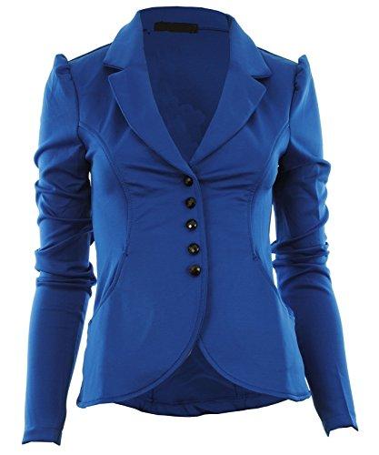 königsblau 10-38 Mardela Frauen 5 Knöpfe vorne versammelten Schulter Damen Blazer Jacke (Ein-knopf-blazer-jacke)
