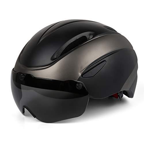 Casque de vélo, Certifié CE, Casque de vélo avec lunettes magnétiques amovibles Bouclier de protection pour hommes Femmes Montagne et route Protection de sécurité réglable pour adulte Ski & snowboard