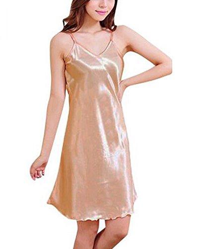 ZANZEA Women's Sexy BabyDoll Satin Silk Lingerie Chemise Mini Night Dress Test
