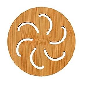 Bbacb Hollow cucina in legno spessore antiscivolo isolamento cuscino tovaglietta anti-caldo sottobicchiere set 9.5 * 9.5cm Windmill