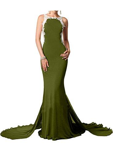 Gorgeous Bride Elegant Lang Rundkragen Meerjungfrau Chiffon Spitze Tüll Schleppe Abendkleider Lang Cocktailkleider Ballkleider Olive