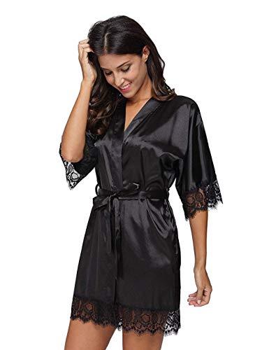Sliwei Frauen Fashion Casual Satin Short Kimono Robe Nachthemd Nachtwäsche Dessous-Sets Fashion Satin