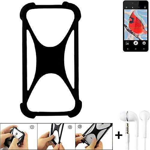 K-S-Trade Handyhülle für Allview V2 Viper i4G Schutzhülle Bumper Silikon Schutz Hülle Cover Case Silikoncase Silikonbumper TPU Softcase Smartphone, schwarz (1x), Headphones