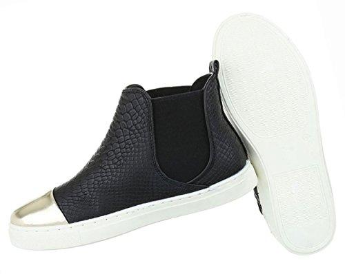 Damen Schuhe Stiefeletten Stiefel Boots Mit Stretch Schwarz Schwarz