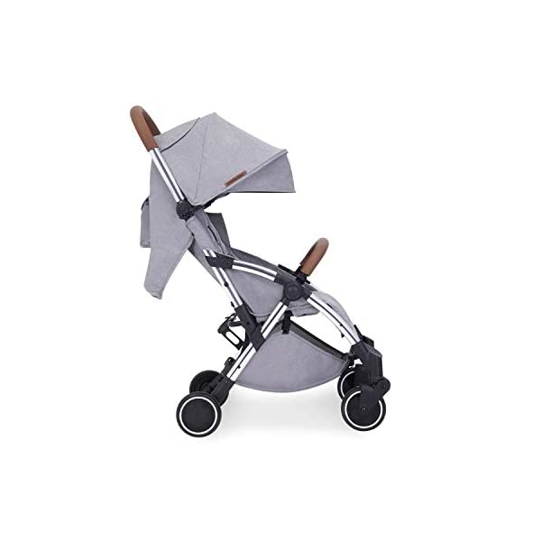 Ickle Bubba Globe Max Baby Stroller | Lightweight and Portable Stroller Pushchair | Folds Slim for Ultra Compact Storage | UPF 50+ Extendable Hood, Footmuff and Rain Cover | Grey/Silver Ickle Bubba ONE-HANDED 3 POSITION SEAT RECLINE: Baby stroller suitable from birth to 15kg-approx. 3 years old; features luxury soft quilted seat liner, footmuff, cupholder, and rain cover UPF 50+ RATED ADJUSTABLE HOOD: Includes a peekaboo window to keep an eye on the little one; extendable hood-UPF rated-to protect against the sun's harmful rays and inclement weather ULTRA COMPACT AND LIGHTWEIGHT: Easy to transport, aluminum frame is lightweight and portable-weighs only 6.4kg; folds compact for storage in small places-fits in aeroplane overhead; carry strap and leather shoulder pad included 10
