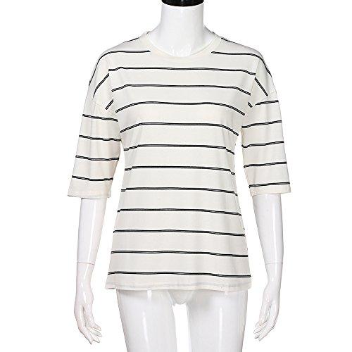 TYML Frauen Lose Streifen Tops O Neck Elbow Sleeve Weibliche Casual Rundhals Gestreiften Fünf-Punkt T-Shirt T-Shirt