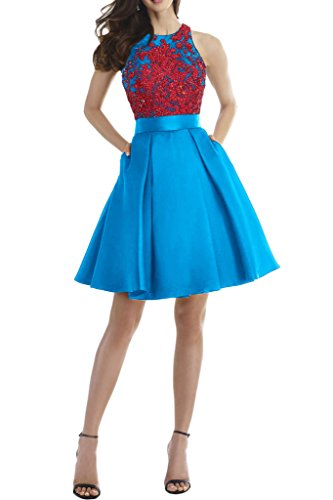 Milano Bride 2017 Neu Charment Abendkleider Promkleid Abschlusskleider A-Linie Kleider Spitze Rueckendrei Kurz Blau