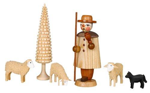 Pastore della figurina dell'armadietto di esposizione con un'altezza di Seiffen della scatola della regolazione delle pecore delle montagne di öre di 9,5cm NUOVE