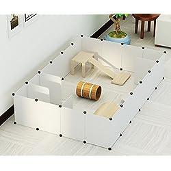 Koossy 24 Platten DIY Freigehege erweiterbarer Laufstall Welpenauslauf für Kleintiere wie Hase, Kaninchen, Meerschweinchen, Katze und Welpe, Weiß