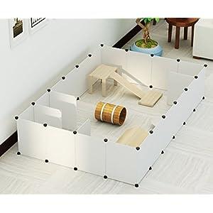 [Gesponsert]Koossy 24 Platten DIY Freigehege erweiterbarer Laufstall Welpenauslauf für Kleintiere wie Hase, Kaninchen, Meerschweinchen, Katze und Welpe, Weiß