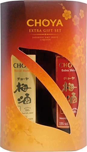 Choya Geschenkset - Choya Extra Shiso 350ml und Choya Royal Honey 350ml (japanischer Fruchtlikör, alkoholhaltig, Ume Frucht Likör) 2er Pack (2 x 350 ml)