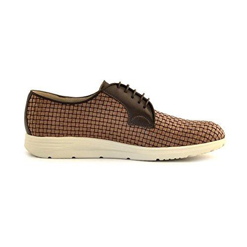 scarpe Soldini uomo stringate pelle intreccio marrone cuoio Marrone