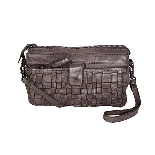 Bear Design Borsa a tracolla CL32663 intrecciato, in pelle lavata Grey