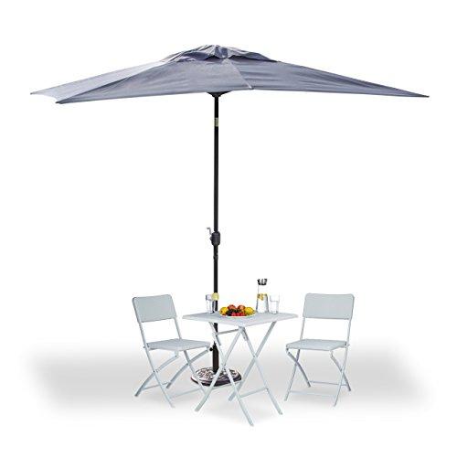 Relaxdays Sonnenschirm rechteckig 200x300cm, neigbarer Gartenschirm mit Kurbel, Balkonschirm Ohne...