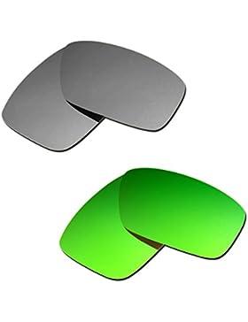 Hkuco Plus Mens Replacement Lenses For Oakley Fuel Cell Titanium/Emerald Green Sunglasses