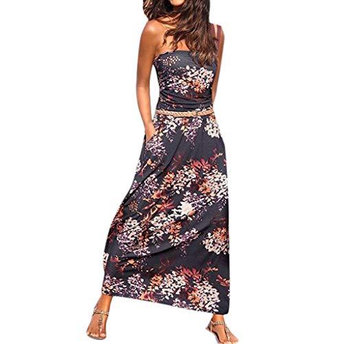 Floweworld Damen Bandeau Bustier Kleider mit Blüte Drucken Lange Sommerkleid Strandkleider Maxikleider Cocktailkleid