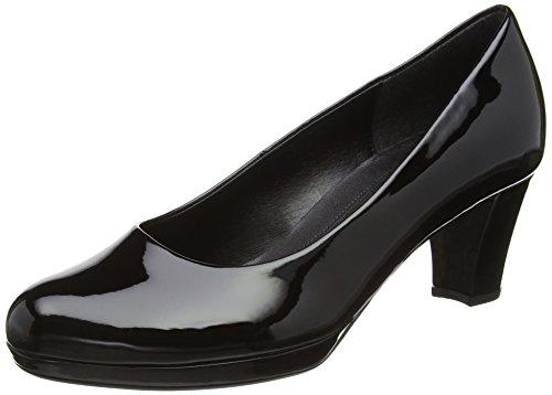Gabor Figaro, Semelle compensée et talons femme Noir (Black Patent HT)