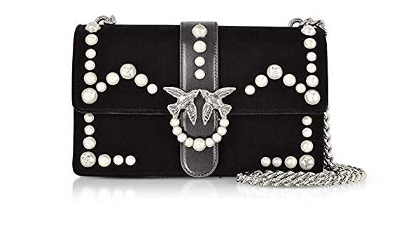 PINKO. BAG Love Velvet Pearls 1P216KY4YC W75 Nero  Amazon.co.uk  Clothing e8b92d0b15c