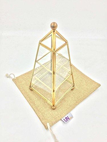 UName Vintage decorativo de cristal transparente y metal joyas caja de