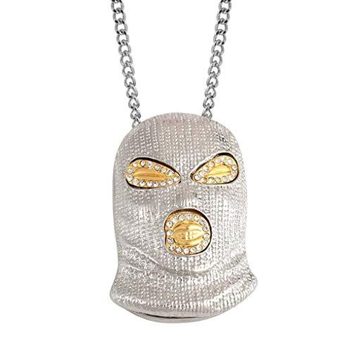 Bobury Hombres Mujeres Punk máscara de Hip Hop del Collar de la Cabeza de Cristal de aleación Colgante de joyería de la Cadena suéter de la joyería