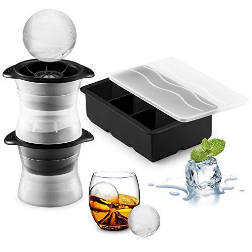 FORIZEN Eiswürfelform Silikon Eiskugelform 6-Fach Eiswürfelbehälter mit Deckel 2er Pack Eiskugelform, BPA Frei Ice Cube Tray Eiswürfelform für Familie, Partys und Bars, Schwarz (Party Ice Tray)