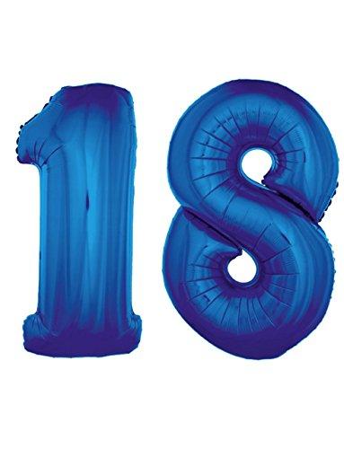 (Wolkenlos Große Zahlenballons Zahl 18 XXL 95-100cm in Farbe Blau, geeignet für Helium)