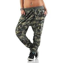 Mississhop Damen Hose Sweatpants Camouflage Militär Print Jogginghose  Freizeithose Boyfriend Baggy Pumphose Gummibund Tarnmuster f0a8ca7e9c
