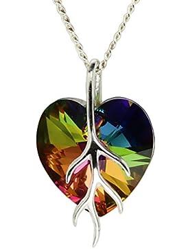 9 Farb Varianten - Anhänger Kette mit Haare Schutz! M3crystal mit Herzanhänger Herz Kristallen von Swarovski ®...
