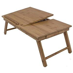 F02 Höhenverstellbarer Laptoptisch mit Schublade, klappbarer Notebooktisch aus Bambus, Betttisch zum Lesen oder Frühstücken, Zeichentisch, Esstisch fürs Bett 55 x 37 x 35 cm (B x H x T)