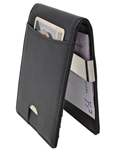 CRS Wallet Echtleder Geldbörse mit Münzfach & Geldklammer | RFID-Schutz | Kompaktes Design | Portmonee mit Fächern für Kreditkarten, Personalausweis, Führerschein & Visitenkarten (Wallet Geldbörse)