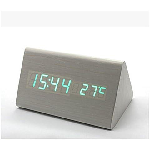 pengweiTriangolo lungo doppio luminoso LED orologio di legno tavolo orologio computer sveglia elettronica , (Doppio Tempo Cronografo)