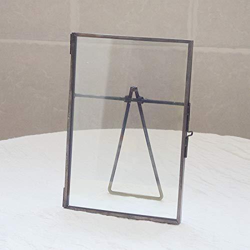 LPHOTOCX Bilderrahmen Kupferkante Pflanzenmuster Clip europäischen Retro Glas Metall Tisch hängen Wand, 8-Zoll-Dreieck Halterung