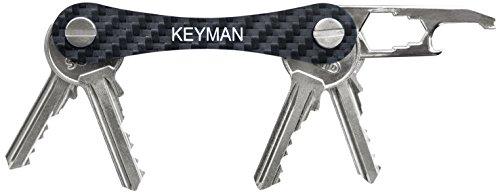 KEYMAN Schlüssel-Organizer aus Carbon mit Flaschenöffner