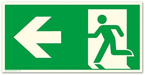 Schild Notausgang Pfeil links langnachleuchtend 300 x 150 mm PVC selbstklebend gem. ASR A1.3 | DIN 7010 | DIN 67510 (Fluchtwegschild Rettungszeichen Rettungsweg Rettungsschild)