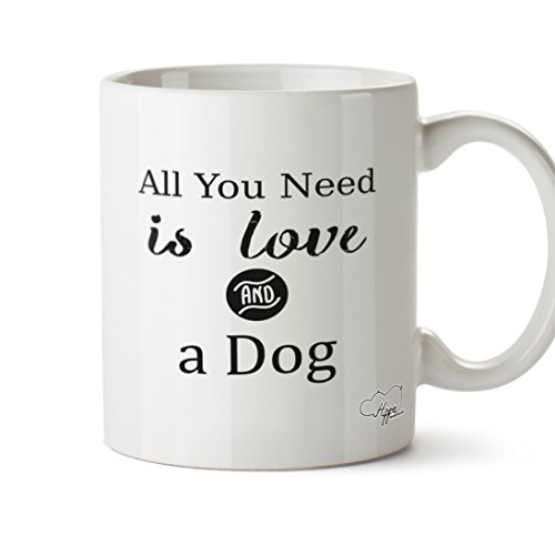hippowarehouse All You Need Is Love and a Dog 283,5Tasse, keramik, weiß, One Size (10oz) (Chicken Boxer)
