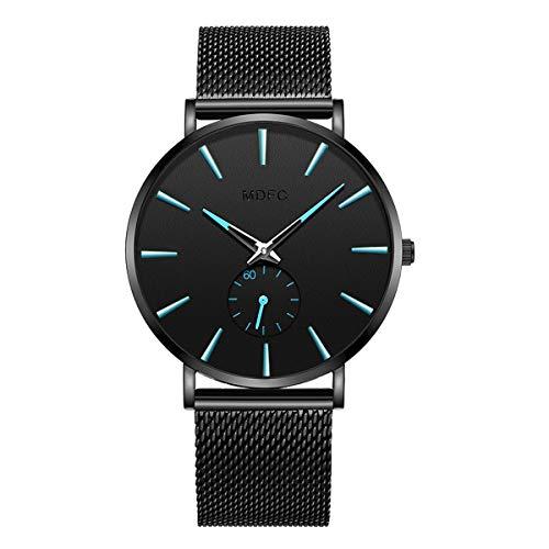Herren Uhr schwarz Armband aus Stahl rostfrei Wasserdichte Armbanduhr ultradünnes Ziffernblatt Schlichtes Design - Männeruhr (Blau)